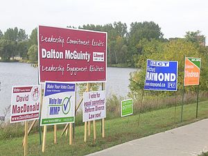 Ontario general election, 2007 - Election signs for the major parties plus a sign supporting the MMP side in the referendum in the constituency of Ottawa South. Ontario premier Dalton McGuinty is the Liberal candidate there.