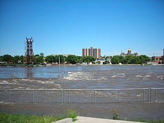 June 2008 Midwest floods - The Des Moines River threatened downtown businesses and prompted officials to call for a voluntary evacuation