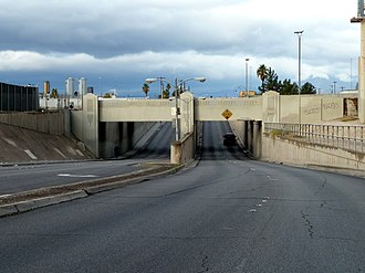 Nevada State Route 579 - SR 579 as it goes under the Clark Avenue (now Bonanza Road) Railroad Underpass looking westbound