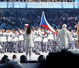 2010 Winter Olympics national flag bearers - The Czech Republic flag being carried by Jaromir Jagr.