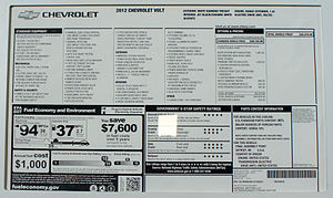 Monroney sticker - Complete window sticker for the 2012 Chevrolet Volt plug-in hybrid