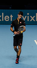 2014-11-12 2014 ATP World Tour Finals Novak Djokiov checking racket by Michael Frey.jpg