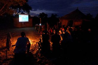Tracking in Caves - Showing the documentary to the community of Thui Thao in their village