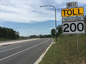 Maryland Route 200 - View west from the east end of MD 200 at US 1