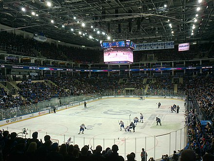 VTB Ice Palace during a game of KHL, a league considered to be the second-best in the world 2017 Gagarin Cup Playoffs - Western Semifinals - SKA v Dinamo Msk - Game 3 - Start of the game.jpg