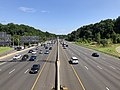 2019-07-12 10 50 14 View north along Interstate 495 (Capital Beltway) from the overpass for Maryland State Route 190 (River Road) on the edge of Bethesda and Potomac in Montgomery County, Maryland.jpg