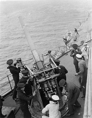 3-inch AA gun and crew on HMS Royal Oak WWI IWM Q 18493.jpg