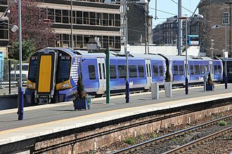 Electric multiple unit - A First ScotRail Class 380 EMU at Haymarket in Edinburgh, Scotland