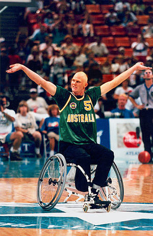 Wheelchair basketball at the 1996 Summer Paralympics - Australian gold medallist men's wheelchair basketballer Troy Sachs encourages the crowd at the 1996 Summer Paralympics.