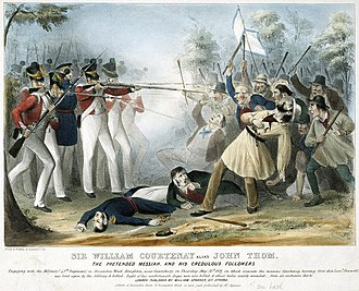 "45th (Nottinghamshire) (Sherwood Foresters) Regiment of Foot - Soldiers of the 45th Regiment fire upon John Tom (who styled himself ""Sir William Courtenay"") and his followers after they had killed Lieutenant Bennett, 1838"