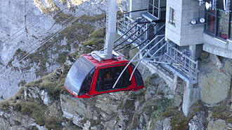 Pilatus (mountain) - Newest aerial cable car (called Dragon Ride) arriving at top station of Pilatus