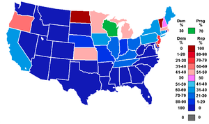 74th United States Congress - Percentage of members from each party by state at the opening of the 74th Congress, ranging from dark blue (most Democratic) to dark red (most Republican).