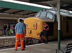 97302 Departmental Locomotive at Barmouth Station.JPG
