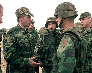 Bantz J. Craddock - First meeting between Craddock and Major General Valeri Evtoukovitich (left) commander of Russian Forces in Kosovo at Camp Bondsteel, Kosovo, on July 7, 1999.