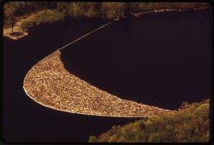 Log boom - Log boom on St. Croix River in Maine, aerial photo taken in 1973