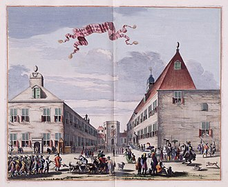 Batavia Castle - From right to left: the residence of the Governor-General inside the Castle, octagonal Church at the background, and the residence of the General-Director/Councillor of VOC.