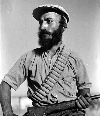 Yemenite Jews in Israel - Yemenite Haganah member on guard duty at moshav Elyashiv