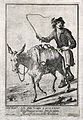 A man is whipping a donkey on as he carries the panniers whi Wellcome V0039642.jpg