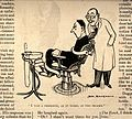 A man strapped into a dentist's chair with the dentist looki Wellcome V0011522.jpg