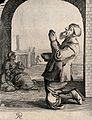 A man with a begging bowl is on his knees with his hands cla Wellcome V0039992.jpg