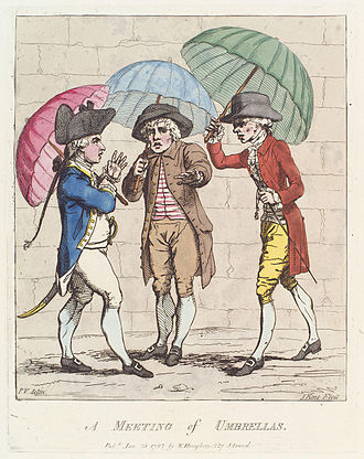Effeminacy - At the time of the picture, the sight of an able-bodied adult male carrying an umbrella for himself in an English city or town still had some of the connotations of excessive dandyism or effeminacy that it had earlier in the 18th century.