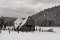 A rural barn following sudden mountain blizzard along California Highway 36, south of Lassen Volcanic National Park LCCN2013630931.tif