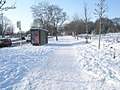 A snowy scene approaching a bus stop in Purbrook Way - geograph.org.uk - 1653265.jpg