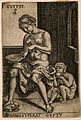 A woman eating from a plate and a monkey eating fruit; repre Wellcome V0007701.jpg