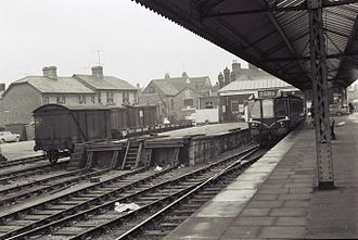 Abingdon railway station - DMU at the station platform in the 1960s.