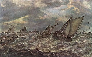Stormy Sea with a Town in the Background