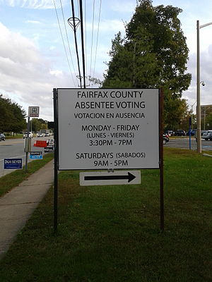 Early voting - Sign indicating an early/absentee voting station in Fairfax County, Virginia
