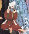 Abu Bakr und Muhammad finden Zuflucht in der Höhle Thaur (aus Siyer-i-Nebi 1595 n.Chr.) (Abu Bakr).jpg