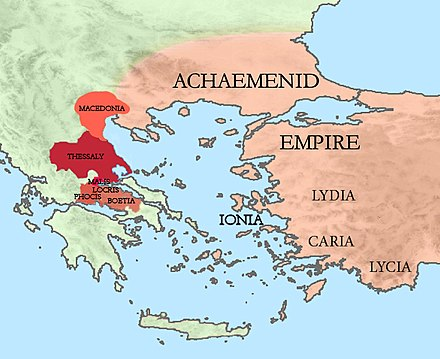 The Achaemenid Empire and its allied Greek states (Macedonia, Thessaly, Malis, Locris, Phocis and Boeotia) at the time of the Battle of Plataea. Achaemenid Empire and Greek allies at the Battle of Plataea 479 BCE.jpg