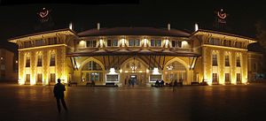 Adana railway station - Adana station building at night.