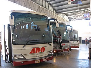 Autobuses de Oriente - A.D.O. buses at Valladolid, Mexico.