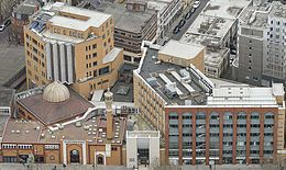 Aerial view of East London Mosque complex - Feb 2014.jpg