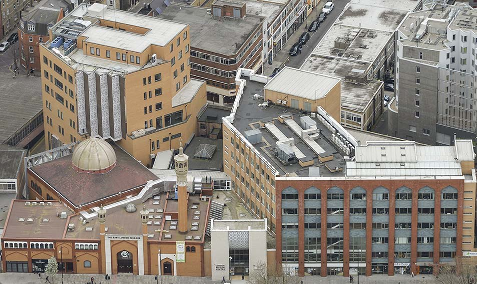 Aerial view of East London Mosque complex - Feb 2014