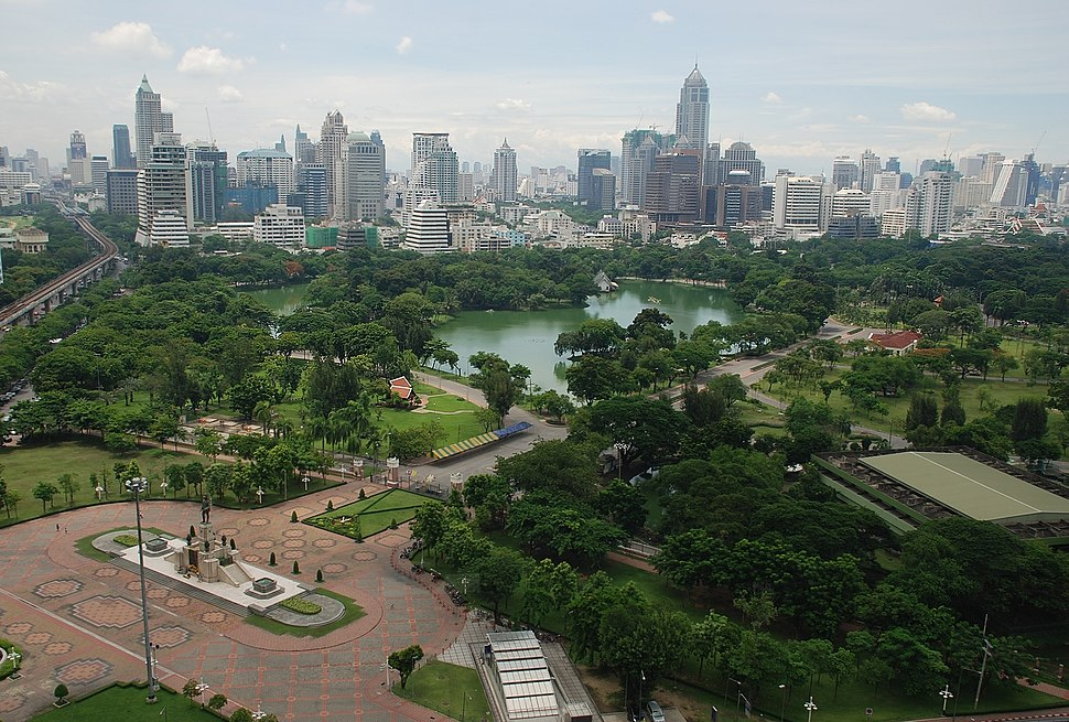Aerial view of Lumphini Park