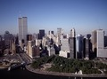 Aerial view of New York City, in which the World Trade Center Twin Towers is prominent LCCN2011632549.tif