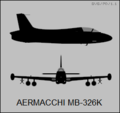 Aermacchi MB-326K two-view silhouette.png