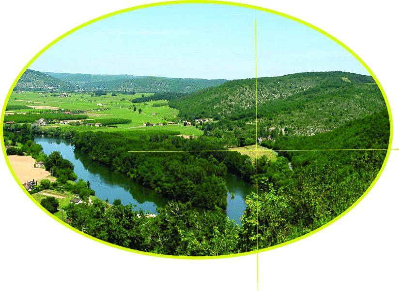 Illustratie voor tekstje over locatie-coördinaten. (De foto toont een zicht op de Lot vanaf de kerk van Bélaye - Lot, Midi-Pyrénées, Frankrijk 2010.)