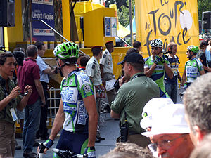 Agritubel - Agritubel riders making preparations at the 2006 Tour de France