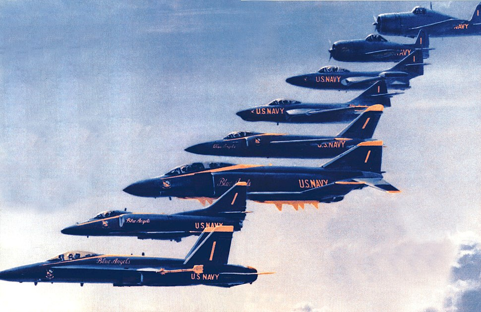 Aircraft flown by the US Navy Blue Angels 1946 to 1996