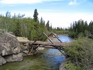 Aishihik River - Aishihik River, immediately upstream from the Alaska Highway crossing.