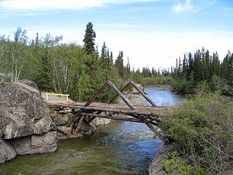 Aishihik River - Aishihik River, immediately upstream from the Alaska Highway crossing.