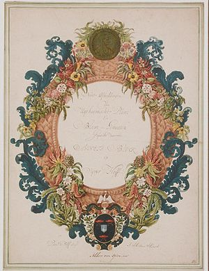 "Agnes Block - Decorative garland with a portrait medaillon at the top of Agnes Block based on a coin stamped by J. Roscam, and with the Block family coat of arms at the bottom, surrounding the text ""Nette Afbeelding / Van / Uytheemsche Plant / En / Bloem - Gewassen / Gequeckt door / Agneta Block / Op / Vyver-Hoffe"", and at the bottom inscribed with ""Pieter de Wolff Schript / Albert van Spiers. invt / J: Helena Herolt"""