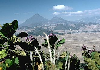 Almolonga - The rounded hills in the middle, are part of a chain of lava domes of the Almolonga volcanic field