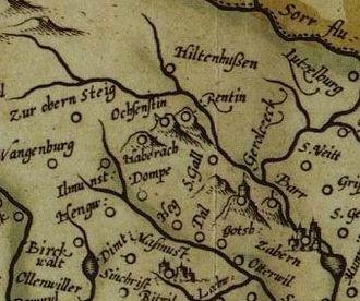 Château d'Ochsenstein - Ochsenstein on Mercator's 16th-century map