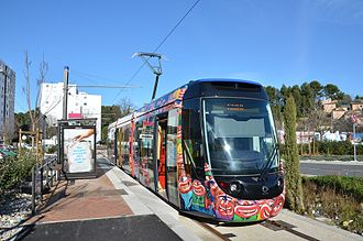 Aubagne - A tram at the railway station