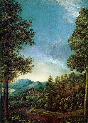 Danube school - Danube landscape near Regensburg, by Albrecht Altdorfer